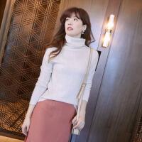 秋冬羊毛衫套头毛衣打底衫纯色堆堆领羊绒衫女细波纹高领针织