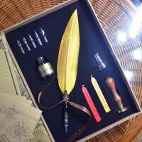 雕花笔杆复古欧式羽毛蘸水笔(金色羽毛)样品间软装复古装饰摆件