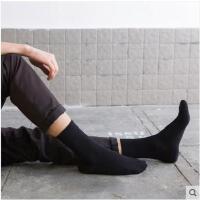 袜子男纯棉中筒袜男士夏季薄款全黑白色简约棉袜商务男袜夏天长袜