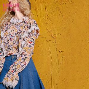 【6折价114元】妖精的口袋见习巫女秋装新款蕾丝V领印花雪纺长袖衬衫女