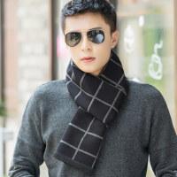 韩版简约商务暖男针织围巾 加长款男士围脖青年 户外保暖潮休闲青年格子围巾男