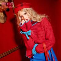 妖精的口袋侦探推理冬甜美蝴蝶结撞色宽松圆领套头毛衣女短款