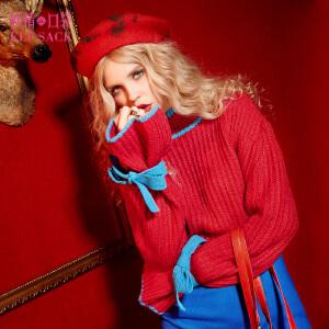 【1件3折】妖精的口袋侦探推理冬甜美蝴蝶结撞色宽松圆领套头毛衣女短款