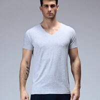 夏季新款男士内衣T恤短袖莫代尔打底衫无痕V领纯色夏天透气修身短袖