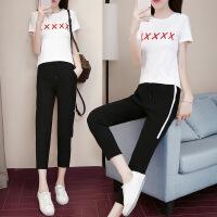 运动休闲套装女夏季短袖新款修身显瘦韩版时尚个性两件套九分裤夏天潮 白色
