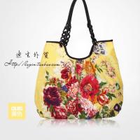 新款时尚潮流女包休闲棉布单肩包购物袋印花手提包包大容量托特包 黄色 到