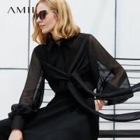 Amii极简欧货潮设计感衬衫女2019夏绑带灯笼袖泡泡袖雪纺上衣