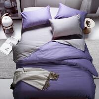 【领券立减50】纯色双拼床品四件套/三件套 素色磨毛双拼床单被罩套装