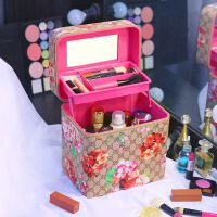 韩国大容量化妆包复古印花手提化妆箱双层便携化妆品护肤品收纳包shq
