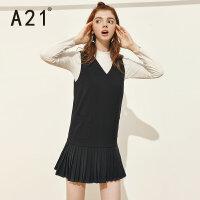 A21女装连衣裙 休闲V领无袖背心黑色淑女舒适休闲裙子女生裙