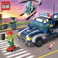 启蒙玩具拼装积木模型6岁-12岁儿童益智玩具城市系列陆空追踪1117