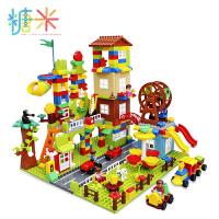 糖米 积木玩具拼装大颗粒1-2-4女孩3-6周岁男孩子儿童益智城市