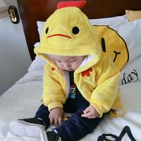 婴儿衣服冬季1岁9个月宝宝加厚连帽上衣新生儿童外套冬装