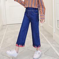 女童牛仔阔腿裤春秋韩版儿童直筒裤童装洋气裤子