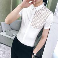 男士短袖衬衫纯色镂空个性修身韩版七分袖衬衣发型师寸衣