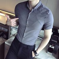 夏季男士短袖�r衫青年�W生�l型���色七分袖�r衣修身�n版休�e寸衫