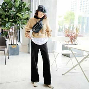 七格格 针织长裤子女2018春季新款韩版百搭宽松学生高腰运动直筒阔腿裤