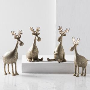 奇居良品 现代家居饰品摆件 罗纳银色萌鹿坐地摆设 4款可选