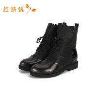 红蜻蜓女鞋新款秋冬舒适百搭真皮系带拼接时尚女靴舒适短靴-