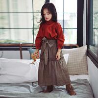 女童秋装上衣长袖韩版2017新款中大童高领打底衫儿童套头公主衬衣