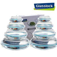 Glasslock三光云彩玻璃扣盘子 礼盒装GL101-8 八件套盘子