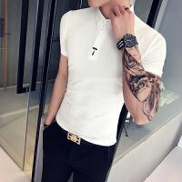 夏季韩版男士POLO衫短袖日系潮流小清新文艺青年修身刺绣半袖T恤