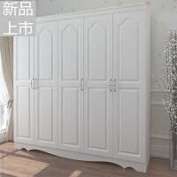 现代欧式实木2门板式衣柜简约白色3门整体组合4门衣橱柜子5门定制 +顶柜