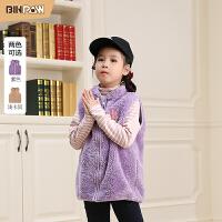 【2件2折到手价:56元】binpaw家女童马甲 2020冬季新款时尚纯色摇粒绒立领个性女童马甲