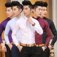 春季韩版修身寸衫新郎伴郎衬衣兄弟团结婚礼服长袖粉色衬衫男装潮