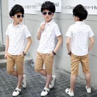 男童白衬衫短袖夏季儿童衬衣大童夏装潮男孩