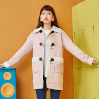 【1件5折】森马毛呢大衣女2017冬季新女装中长款森系羊羔毛韩版鹿皮绒大衣