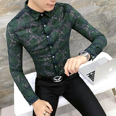 秋季新款男士修身蕾丝长袖衬衫青年韩版时尚个性夜店衬衣帅气潮流 发货周期:一般在付款后2-90天左右发货,具体发货时间请以与客服协商的时间为准