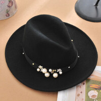 韩版休闲女羊毛帽子 优雅爵士帽黑色礼帽 新款水钻珍珠大檐毛呢帽子欧美风