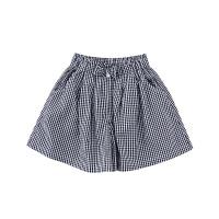小猪班纳童装女童格子裤裙蓝色2020春夏小女孩裤子蓝色短裤纯棉