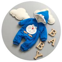 婴儿连体衣冬季加厚抓绒0新生儿衣服卡通3-6个月男女宝宝哈衣爬服