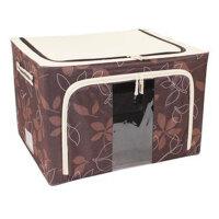 普润 44L咖啡色 牛津布钢架百纳箱 整理收纳箱 咖啡色树叶 单视 双开门