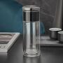 茶水分离泡茶杯双层玻璃杯男士商务便携水杯加厚耐热茶杯女花茶杯