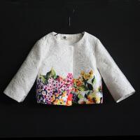女童秋冬装新款小香风外套七分袖提花小西装上衣亲子装母女装