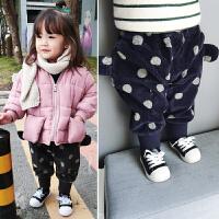 22直播儿童宝宝圆点灯芯绒哈伦裤耳朵造型加绒裤子小童靴子裤冬