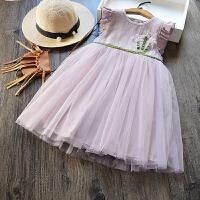 女童公主裙 2017夏季新款�和��n版�w袖背心裙 �棉花朵�B衣裙