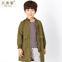 【当当自营】贝康馨童装 男童无领简约长款外套 韩版男童新款秋装时尚休闲外套