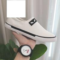 夏季男士帆布鞋英伦休闲鞋一脚蹬懒人鞋韩版小怪兽男鞋时尚潮流小白鞋单鞋