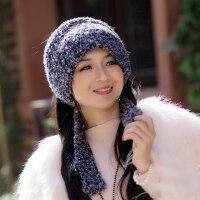 毛线帽子女潮甜美可爱套头发带包头头巾帽耳罩帽子ins风
