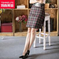 特尚莱菲 秋冬半身裙毛呢裙子女格子短裙加厚中裙包臀裙冬裙半裙 HCR5252