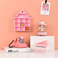 创意少女心房间装饰礼物摆件旋转木马音乐盒钢琴电话粉色房子壁挂