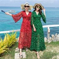 长袖修身显瘦长款碎花印花雪纺连衣裙女夏天海岛海边度假沙滩长裙