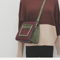 包包女冬季新款复古撞色铁把手提包韩版少女小斜挎包单肩包潮 酒红色