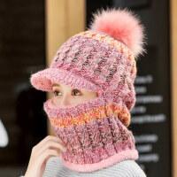 女士甜美可爱毛线帽围脖一体潮 韩版百搭加绒保暖针织帽女 新款毛毛球帽子女