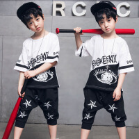六一儿童节表演服5男童街舞夏套装6中童7小男孩衣服8新款10韩版酷 白色 五星套装