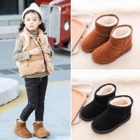 儿童雪地靴 女童低筒加绒加厚套筒鞋冬季新款韩版儿童时尚休闲舒适百搭鞋子